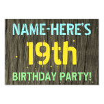 [ Thumbnail: Faux Wood, Painted Text Look, 19th Birthday + Name Invitation ]
