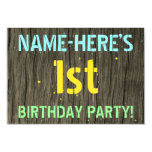 [ Thumbnail: Faux Wood, Painted Text Look, 1st Birthday + Name Invitation ]