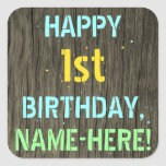 [ Thumbnail: Faux Wood, Painted Text Look, 1st Birthday + Name Sticker ]