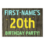 [ Thumbnail: Faux Wood, Painted Text Look, 20th Birthday + Name Invitation ]