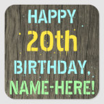 [ Thumbnail: Faux Wood, Painted Text Look, 20th Birthday + Name Sticker ]