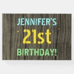 [ Thumbnail: Faux Wood, Painted Text Look, 21st Birthday + Name Guest Book ]
