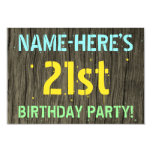 [ Thumbnail: Faux Wood, Painted Text Look, 21st Birthday + Name Invitation ]