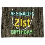 [ Thumbnail: Faux Wood, Painted Text Look, 21st Birthday + Name Gift Bag ]