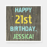 [ Thumbnail: Faux Wood, Painted Text Look, 21st Birthday + Name Napkin ]