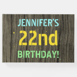 [ Thumbnail: Faux Wood, Painted Text Look, 22nd Birthday + Name Guest Book ]