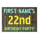 [ Thumbnail: Faux Wood, Painted Text Look, 22nd Birthday + Name Invitation ]