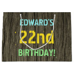 [ Thumbnail: Faux Wood, Painted Text Look, 22nd Birthday + Name Gift Bag ]