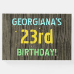 [ Thumbnail: Faux Wood, Painted Text Look, 23rd Birthday + Name Guest Book ]