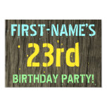 [ Thumbnail: Faux Wood, Painted Text Look, 23rd Birthday + Name Invitation ]
