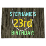 [ Thumbnail: Faux Wood, Painted Text Look, 23rd Birthday + Name Gift Bag ]