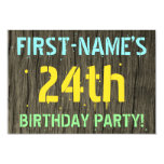 [ Thumbnail: Faux Wood, Painted Text Look, 24th Birthday + Name Invitation ]