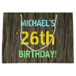 [ Thumbnail: Faux Wood, Painted Text Look, 26th Birthday + Name Gift Bag ]