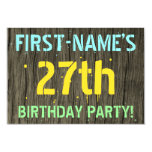 [ Thumbnail: Faux Wood, Painted Text Look, 27th Birthday + Name Invitation ]