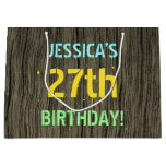 [ Thumbnail: Faux Wood, Painted Text Look, 27th Birthday + Name Gift Bag ]