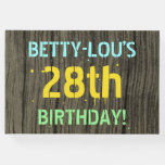 [ Thumbnail: Faux Wood, Painted Text Look, 28th Birthday + Name Guest Book ]