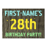 [ Thumbnail: Faux Wood, Painted Text Look, 28th Birthday + Name Invitation ]