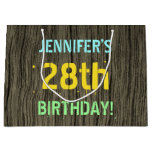[ Thumbnail: Faux Wood, Painted Text Look, 28th Birthday + Name Gift Bag ]