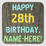 [ Thumbnail: Faux Wood, Painted Text Look, 28th Birthday + Name Sticker ]
