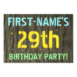[ Thumbnail: Faux Wood, Painted Text Look, 29th Birthday + Name Invitation ]