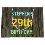 [ Thumbnail: Faux Wood, Painted Text Look, 29th Birthday + Name Gift Bag ]