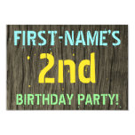 [ Thumbnail: Faux Wood, Painted Text Look, 2nd Birthday + Name Invitation ]