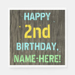 [ Thumbnail: Faux Wood, Painted Text Look, 2nd Birthday + Name Napkin ]