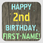 [ Thumbnail: Faux Wood, Painted Text Look, 2nd Birthday + Name Sticker ]