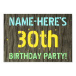 [ Thumbnail: Faux Wood, Painted Text Look, 30th Birthday + Name Invitation ]