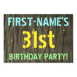 [ Thumbnail: Faux Wood, Painted Text Look, 31st Birthday + Name Invitation ]