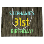 [ Thumbnail: Faux Wood, Painted Text Look, 31st Birthday + Name Gift Bag ]