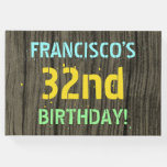 [ Thumbnail: Faux Wood, Painted Text Look, 32nd Birthday + Name Guest Book ]