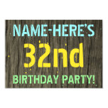 [ Thumbnail: Faux Wood, Painted Text Look, 32nd Birthday + Name Invitation ]