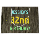 [ Thumbnail: Faux Wood, Painted Text Look, 32nd Birthday + Name Gift Bag ]