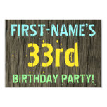 [ Thumbnail: Faux Wood, Painted Text Look, 33rd Birthday + Name Invitation ]