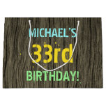 [ Thumbnail: Faux Wood, Painted Text Look, 33rd Birthday + Name Gift Bag ]