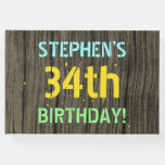 [ Thumbnail: Faux Wood, Painted Text Look, 34th Birthday + Name Guest Book ]