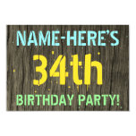 [ Thumbnail: Faux Wood, Painted Text Look, 34th Birthday + Name Invitation ]
