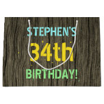 [ Thumbnail: Faux Wood, Painted Text Look, 34th Birthday + Name Gift Bag ]