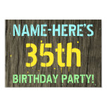 [ Thumbnail: Faux Wood, Painted Text Look, 35th Birthday + Name Invitation ]
