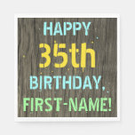 [ Thumbnail: Faux Wood, Painted Text Look, 35th Birthday + Name Napkin ]