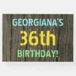 [ Thumbnail: Faux Wood, Painted Text Look, 36th Birthday + Name Guest Book ]