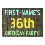 [ Thumbnail: Faux Wood, Painted Text Look, 36th Birthday + Name Invitation ]