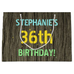 [ Thumbnail: Faux Wood, Painted Text Look, 36th Birthday + Name Gift Bag ]
