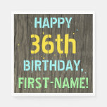 [ Thumbnail: Faux Wood, Painted Text Look, 36th Birthday + Name Napkin ]