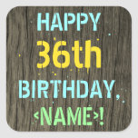 [ Thumbnail: Faux Wood, Painted Text Look, 36th Birthday + Name Sticker ]