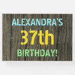 [ Thumbnail: Faux Wood, Painted Text Look, 37th Birthday + Name Guest Book ]