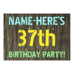 [ Thumbnail: Faux Wood, Painted Text Look, 37th Birthday + Name Invitation ]