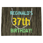 [ Thumbnail: Faux Wood, Painted Text Look, 37th Birthday + Name Gift Bag ]