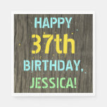 [ Thumbnail: Faux Wood, Painted Text Look, 37th Birthday + Name Napkin ]